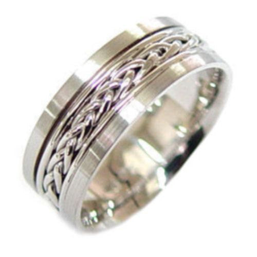 14K White Gold Hand Braided Wedding Ring Band, For the Bride and Groom