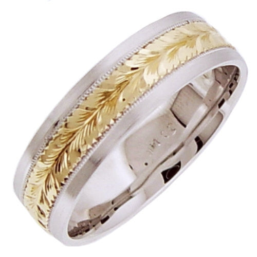 14K Two Tone Gold Hand Engraved Wedding Ring Band, For the Bride and Groom