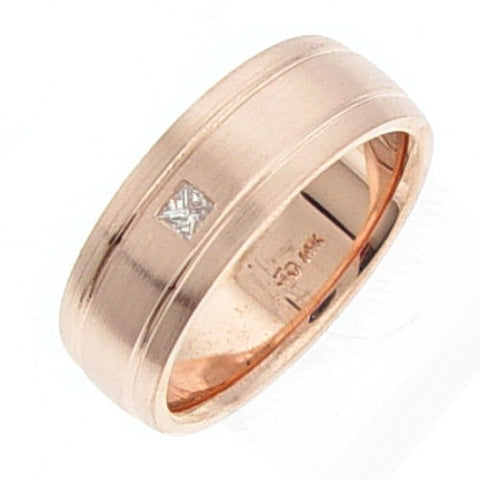 14K Pink Gold Diamond Wedding Ring Band, For the Bride and Groom
