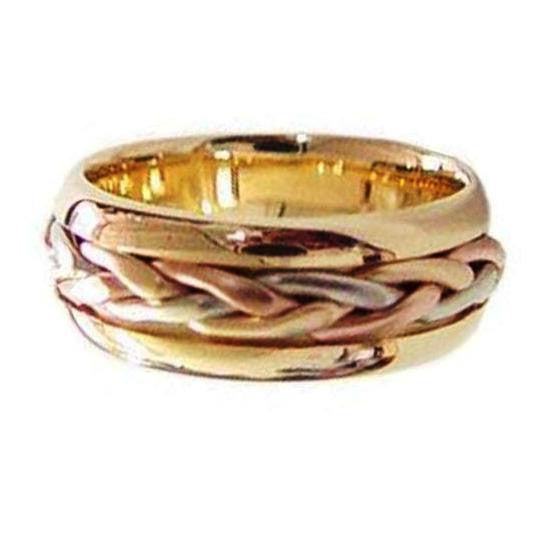 8mm 14K Tri Color Hand Braided Cord Wedding Ring Band, For the Bride and Groom