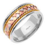 14K White with Tri-color Gold Center Hand Braided Wedding Band, For Men and Women