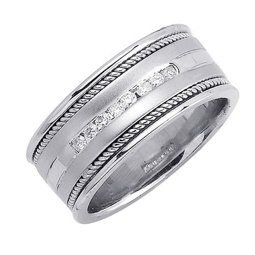 14K White Gold Eight Diamond Hand Braided Cord Wedding Ring Band, For th Bride and Groom