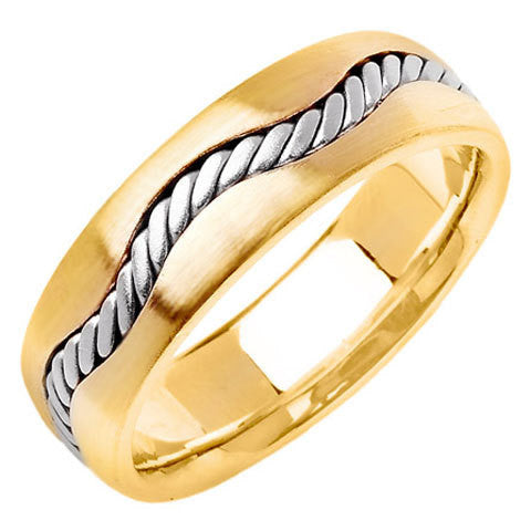 14K Two Tone Gold Curved Hand Braided Cord Wedding Ring Band, For the Bride and Groom