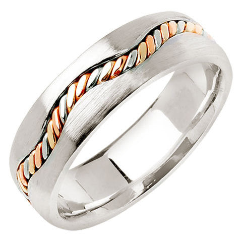 14K Tri Color Gold Curved Hand Braided Cord Wedding Ring Band, For the Bride and Groom