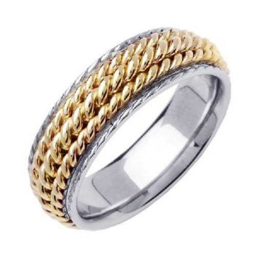 14K Two Tone Gold Three Strand Hand Braided Cord Wedding Ring Band, For His and Her