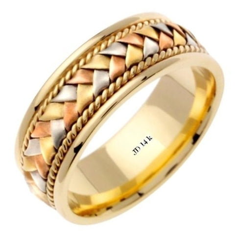14K Tri Color Gold Hand Braided Wedding Ring Band, For the Bride and Groom