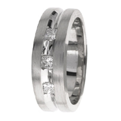 14K White Gold Three Stone Diamond Wedding Ring Band, For the Bride and Groom