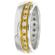 14K Two Tone Gold Eternity Wedding Ring Band, For the Bride and Groom