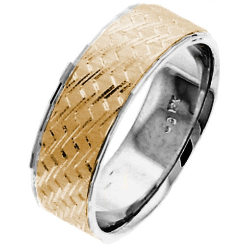 14K Two Tone Gold Hand Carved Design Wedding Ring Band, For the Bride and Groom