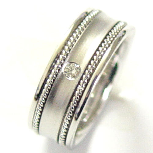 14K White Gold Diamond Hand Braided Wedding Ring Band, For the Bride and Groom
