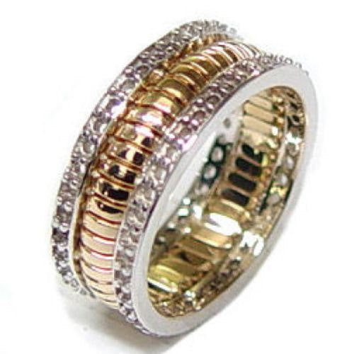 14K Two Tone Gold Eternity Hand Braided Wedding Ring Band, For the Bride and Groom