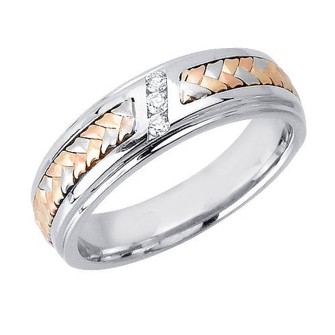 14K Tri Color Gold Three Stone Diamond Hand Braided Wedding Ring Band, For the Bride and Groom