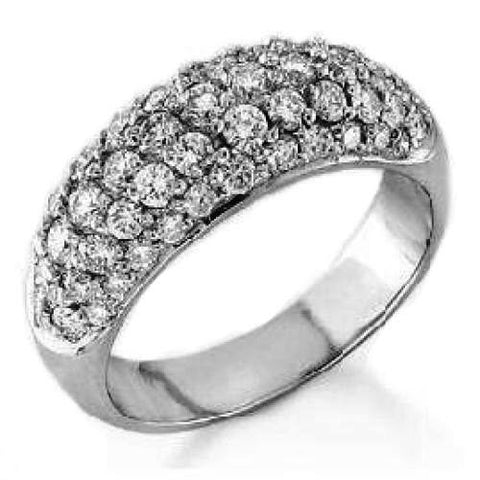 14K  White Gold Four Row Diamond Wedding Ring Band, For the Lovely Bride