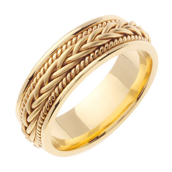 18K Yellow Gold Hand Braided Cord Wedding Ring Band, For the Bride and Groom