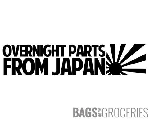 """Overnight Parts from Japan"" Sticker"