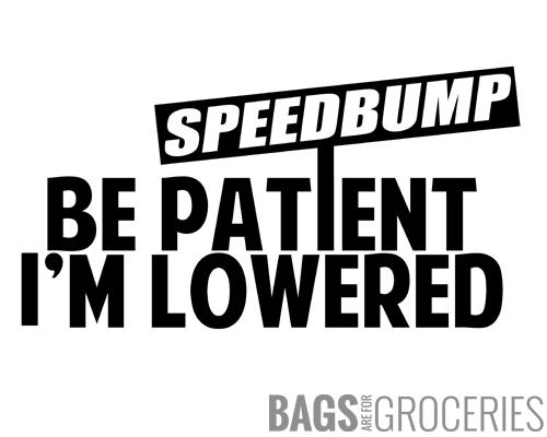 Speedbump - Be Patient I'm Lowered Sticker