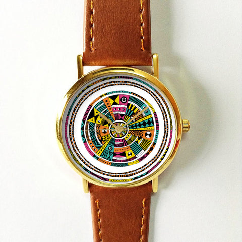 Pink and Yellow Aztec Watch - Freeforme