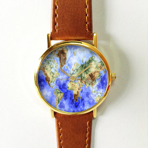 Detailed Watercolor Map Watch - Freeforme