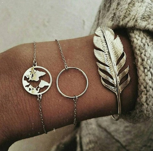 Feathers - World Map - Round Charm - Bracelet Set - Freeforme
