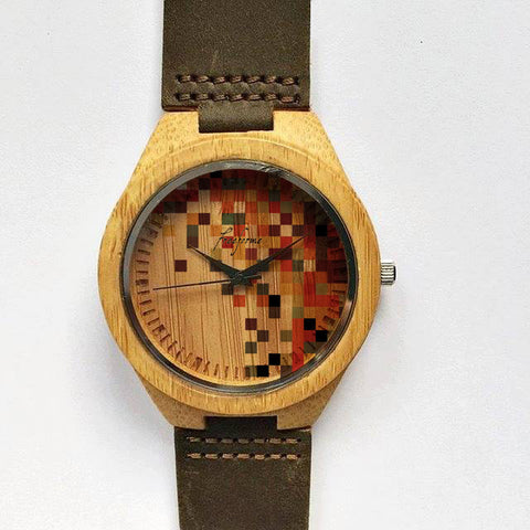 Colored Pixels Wooden Watch - Freeforme