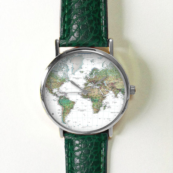 Green Earth World Map Watch - Freeforme