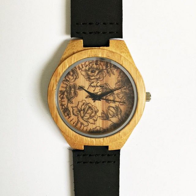 Floral Rose Wooden Watch - Freeforme