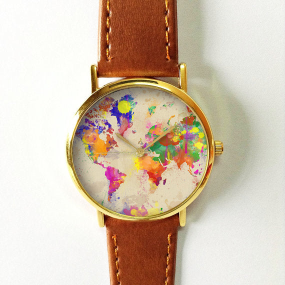 Watercolor World Map Watch - Freeforme