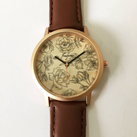 Floral Wooden Watch - Freeforme