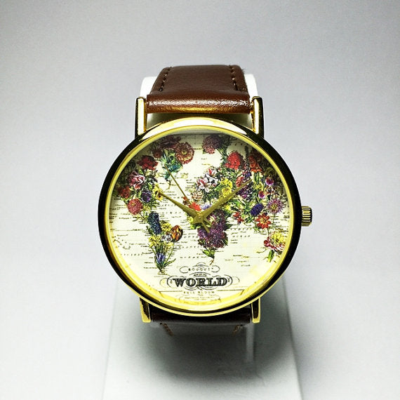 World Map Floral Watch - Freeforme