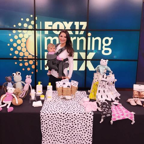 Fox17 Morning Mix television show features Kippins baby comforters
