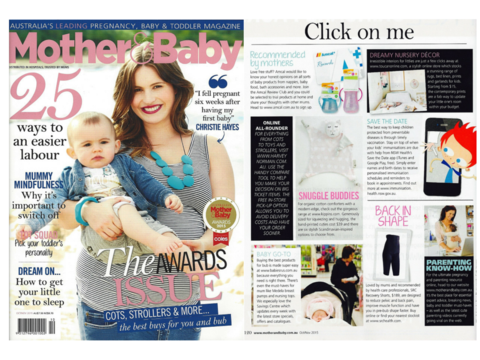 Mother and Baby magazine features Kitty Kippin baby comforter