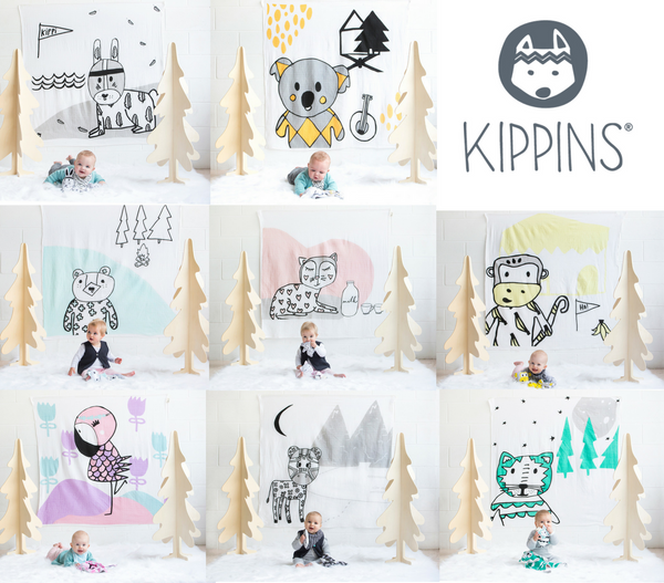 Kippins range of muslin wrap designs