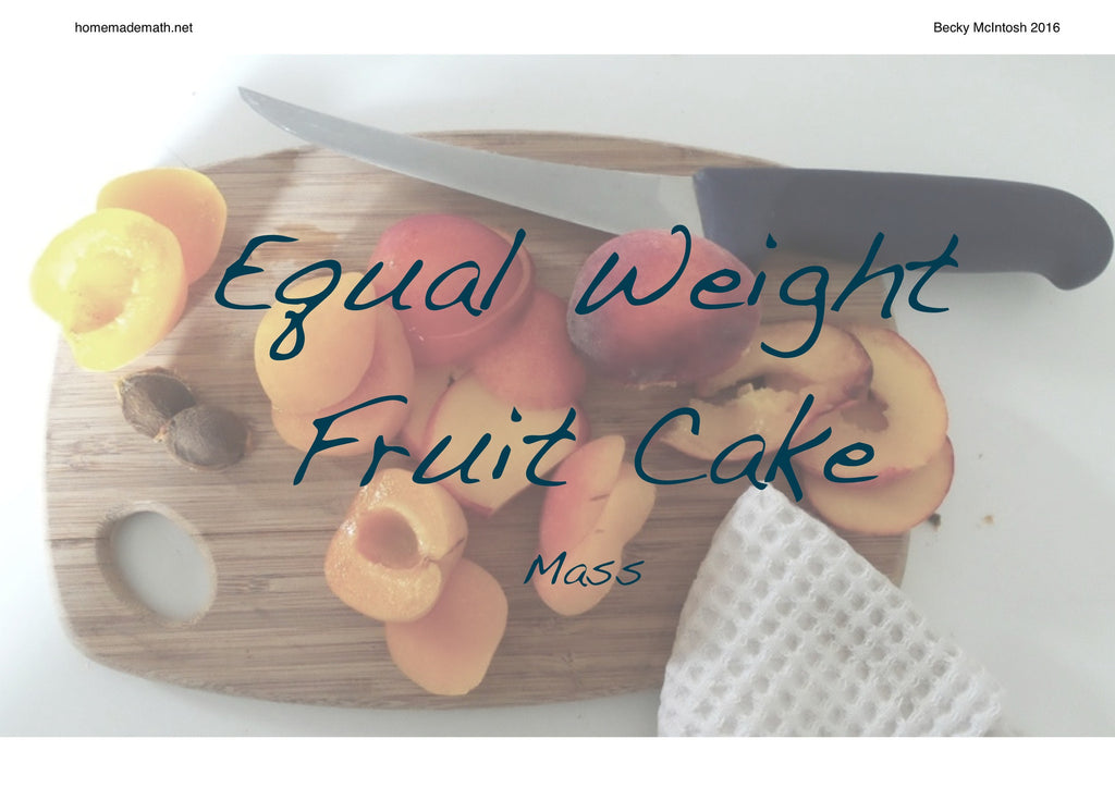 Free Activity: Equal Weights Fruit Cake and other recipes for balance scales