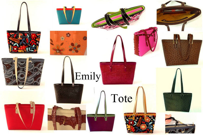 Emily tote bags showing the variety