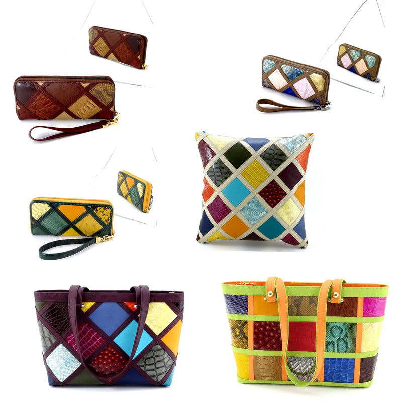 Patchwork leather work on Michaela zip around purses, cushion covers and Emily tote bags