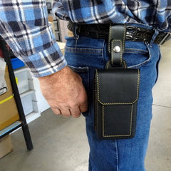 Holster style phone case attached onto the belt fully using belt strap attachment