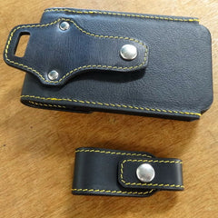 Holster style phone case showing the belt attachments