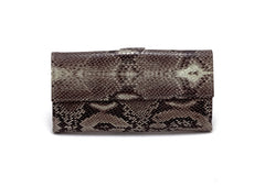 Lyla Leather snake print ladies clutch purse cream