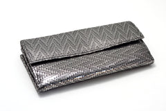 Lyla Silver zig zag metallic leather ladies clutch purse