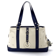 Felicity navy kangaroo and white leather