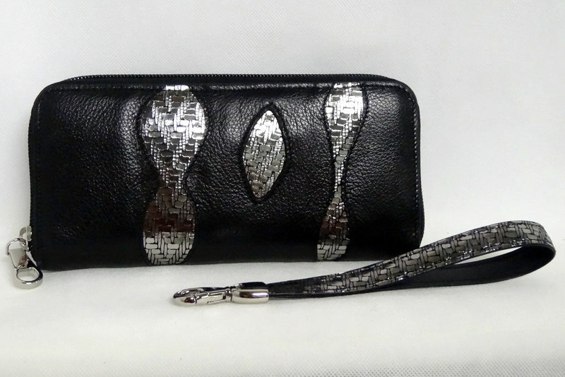 Michaela  Black leather silver sparkle detail ladies zip around purse side 2