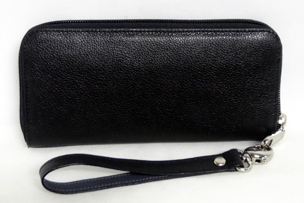Michaela  Black textured leather zip around purse side 2