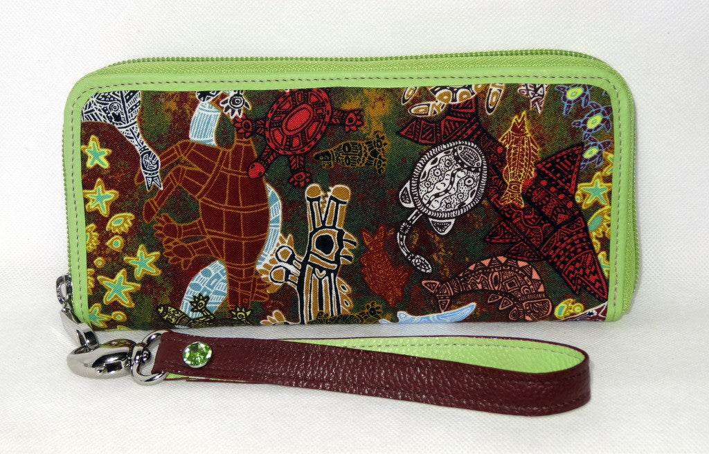 Michaela  Red kangaroo fabric lime leather ladies zip around purse side 2