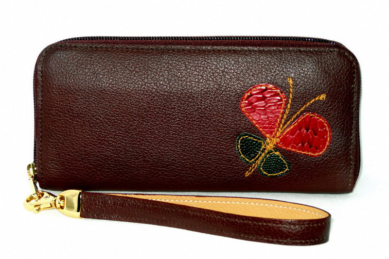 Michaela  Shiraz textured leather butterfly detail ladies zip purse side 1