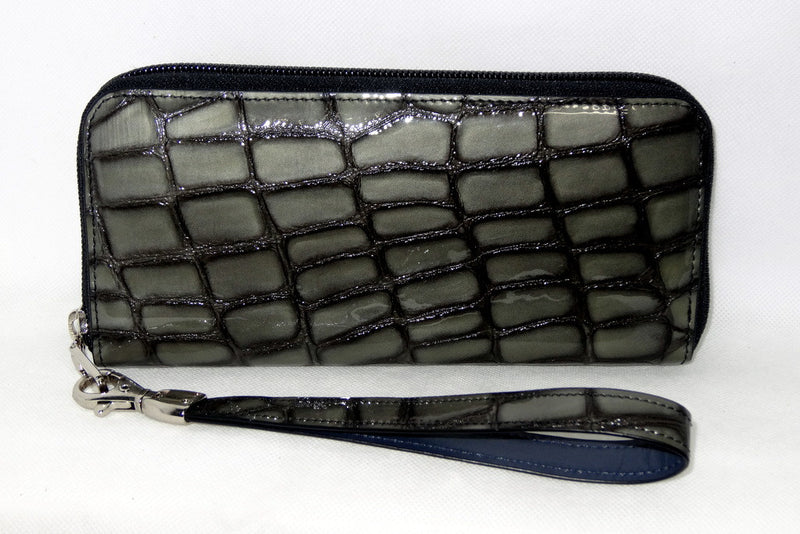 Michaela  Grey foil leather zip around purse side 2