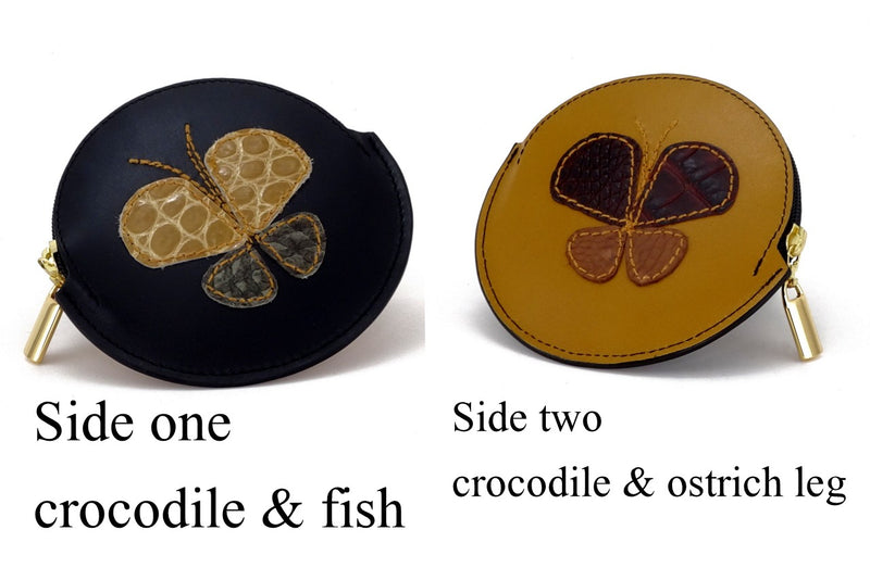 Coin Purse - Round decorated leather with zip showing front and back butterfly