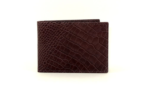 Burgundy printed leather small men's wallet front