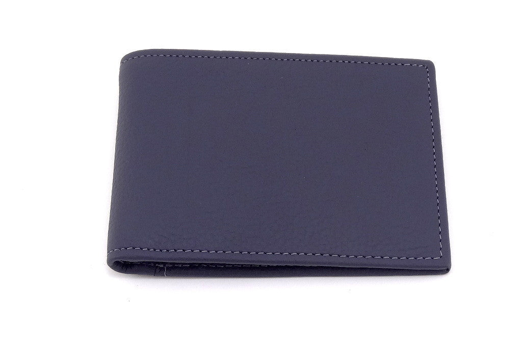 Grey leather small men's wallet front closed