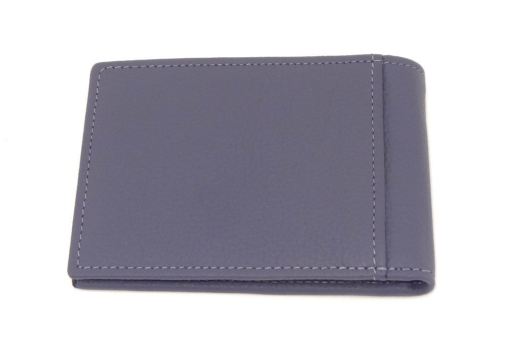 Grey leather small men's wallet back