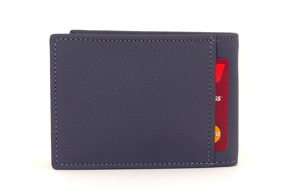 Grey leather small men's wallet back pocket